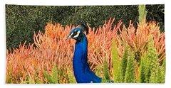 Peacock Blues Beach Towel by Kruti Shah