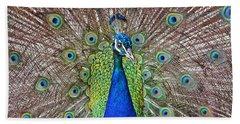 Peacock Displaying His Plumage Beach Sheet by Jim Fitzpatrick