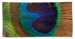 Peacock Feather Macro Detail Beach Towel