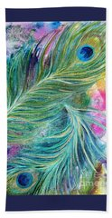 Peacock Feathers Bright Beach Towel by Denise Hoag