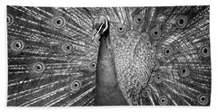 Peacock In Black And White Beach Towel