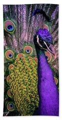 Peacock In Purple 2 Beach Towel