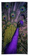 Peacock In Purple Beach Towel