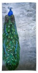 Peacock In Winter Beach Towel by LaVonne Hand