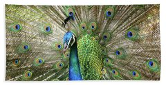 Beach Towel featuring the photograph Peacock Indian Blue by Sharon Mau