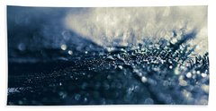 Beach Towel featuring the photograph Peacock Macro Feather And Waterdrops by Sharon Mau