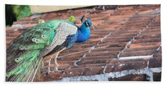 Peacock On Rooftop Beach Towel