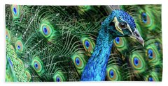 Beach Towel featuring the photograph Peacock by Steven Sparks