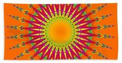 Peacock Sun Mandala Fractal Beach Towel