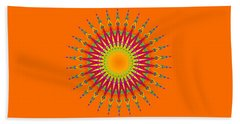 Peacock Sun Mandala Fractal Beach Sheet