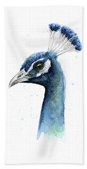 Peacock Watercolor Beach Sheet by Olga Shvartsur