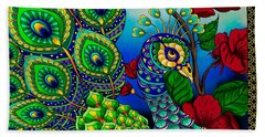 Peacock Zentangle Inspired Art Beach Towel