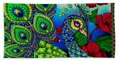 Peacock Zentangle Inspired Art Beach Sheet