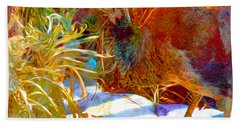 Peahen Eating Winter Garden Kale Beach Towel by Anastasia Savage Ealy