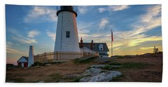 Pemaquid Point Lighthouse At Sunset Beach Towel