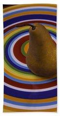 Pear On Circle Plate Beach Towel