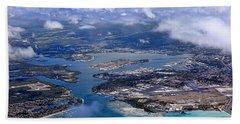 Pearl Harbor Aerial View Beach Sheet