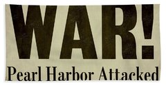 Pearl Harbor Attack Newspaper Headline Beach Towel