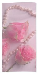 Pearls And Roses Beach Towel