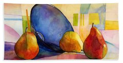 Pears And Blue Bowl Beach Towel