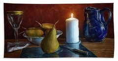 Pears By Candlelight Beach Sheet by Mark Fuller