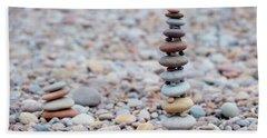 Pebble Stack II Beach Sheet by Helen Northcott