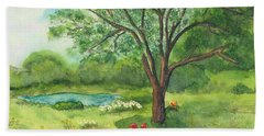 Beach Towel featuring the painting Pedro's Tree by Vicki  Housel