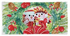 Peek-a-boo Christmas Beach Towel