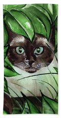 Beach Towel featuring the painting Peek A Boo Siamese Cat by Dora Hathazi Mendes