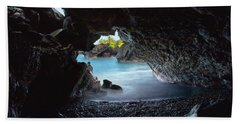 Beach Towel featuring the photograph Peeking Through The Lava Tube by Susan Rissi Tregoning