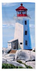 Beach Towel featuring the painting Peggy's Cove Lighthouse by Marilyn  McNish