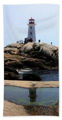 Peggys Light House Relfection  Beach Towel