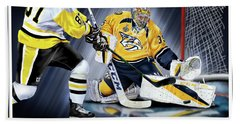 Pekka Rinne Stanley Cup Beach Towel by Don Olea