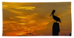Pelican At Silver Lake Sunset Ocracoke Island Beach Towel