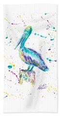 Pelican By Jan Marvin Beach Towel