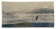 Pelican In Sea Smoke Beach Towel
