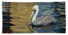 Pelican In Watercolors Beach Sheet