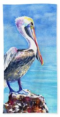 Pelican On A Post  Beach Towel