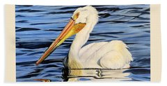 Pelican Posing Beach Towel by Marilyn McNish