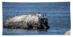 Beach Towel featuring the photograph Pelican Rock by Randy Bayne
