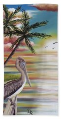 Beach Towel featuring the painting Pelican Sunset by Dianna Lewis
