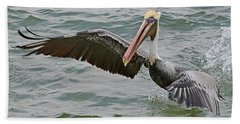 Beach Towel featuring the photograph Pelican Take Off by Jimmie Bartlett