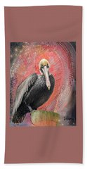 Pelican With Red Beach Towel