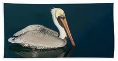 Beach Towel featuring the photograph Pelican With Reflection by Bradford Martin