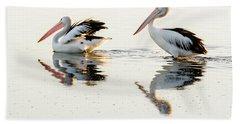 Pelicans At Dusk Beach Sheet by Werner Padarin