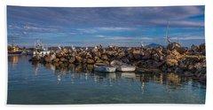 Pelicans At Eden Wharf Beach Towel