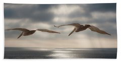 Pelicans At Sea Beach Towel