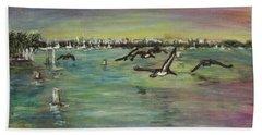 Pelicans Fly Beach Towel