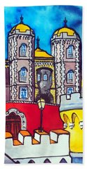 Beach Towel featuring the painting Pena Palace In Sintra Portugal  by Dora Hathazi Mendes