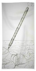 Beach Towel featuring the drawing Pencil Drawing by Denise Fulmer